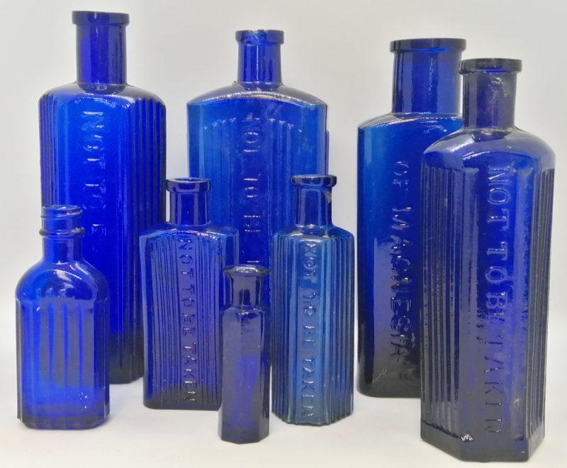 Blue medicine bottles