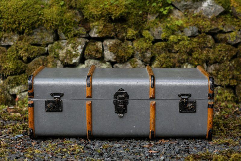 Grey steamer trunk