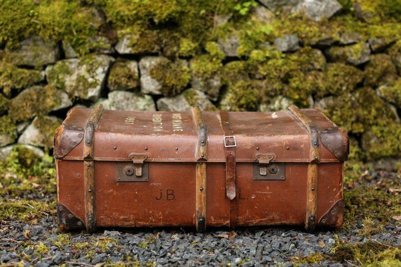 Brown steamer trunk