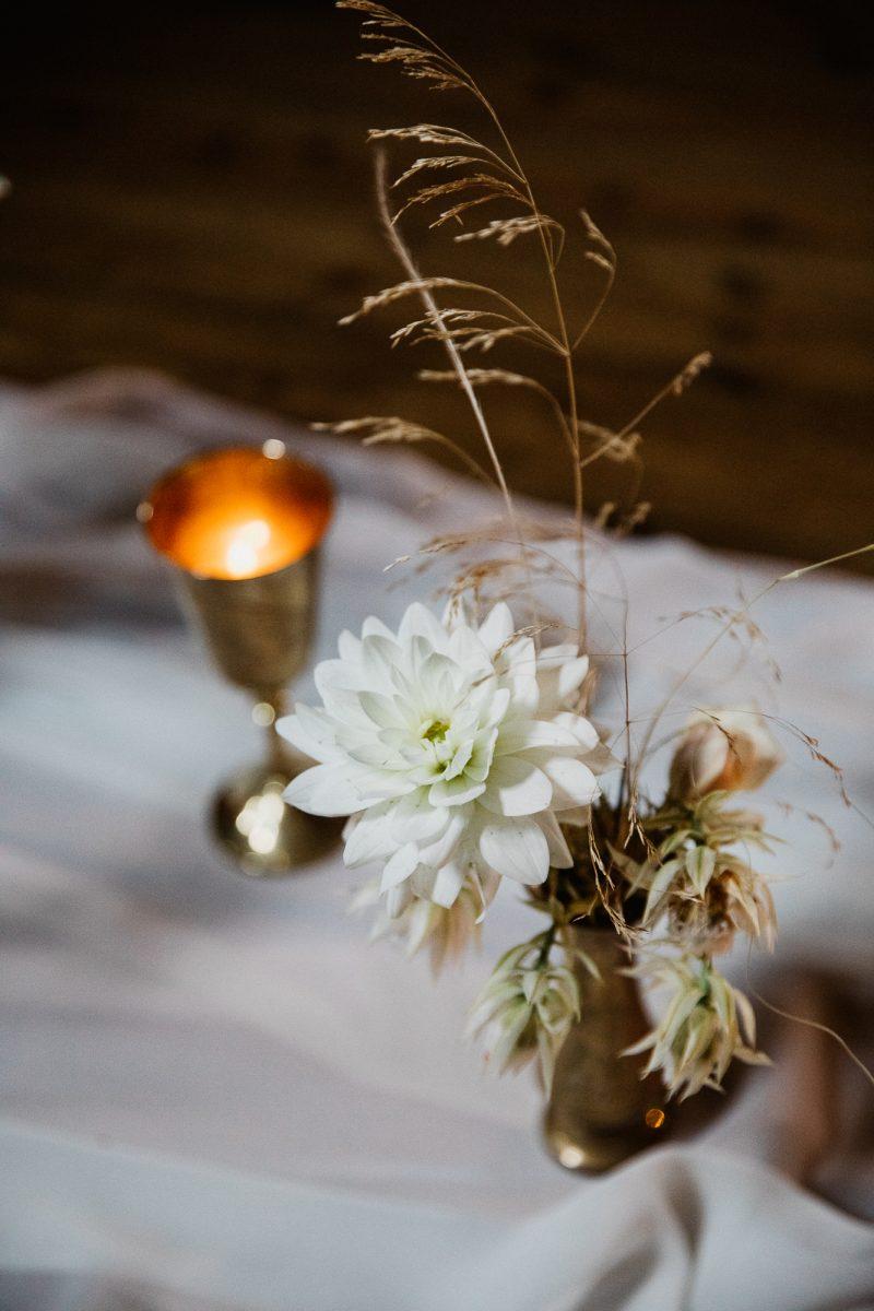 Brass vase & goblet