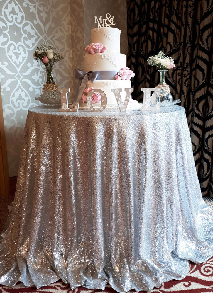 Silver sequin tablecloth