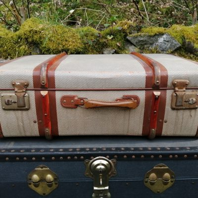 Beige & Brown Suitcase