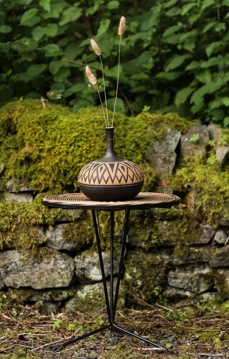 Terracotta Vase & Rattan table