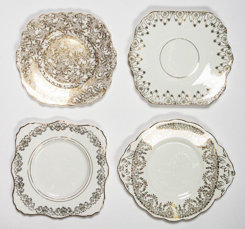 White & Gold Cake Plates